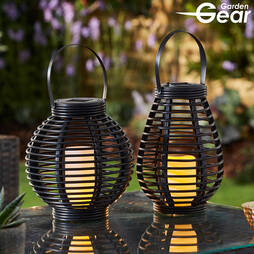 Rattan Solar Lantern (2 pack)  Round & Tall