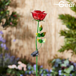 Glass Rose Solar Stake Light