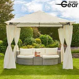 Metal Gazebo with Cream Roof and Curtains