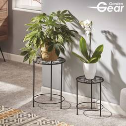 Garden Gear Flower Stand ? 2 Pack Black