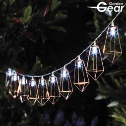 Garden Gear Rose Gold Diamond Cage Solar Lights with 10 LEDs