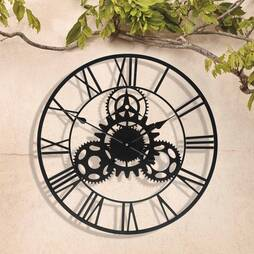 Roman Numeral Clock with Cog Design  57cm  Black