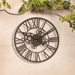 Roman Numeral Clock with Cog Design  35cm