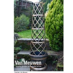 Wooden Barrel Effect Tower Pot