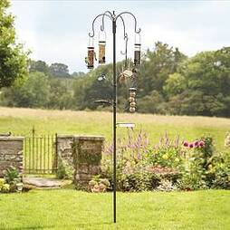 Bird Feeding Station with 4 Bird Feeders - Cream