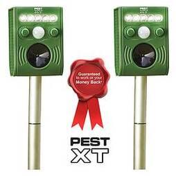 Pest XT Solar Powered Ultrasonic Flash Pest Repeller - Twin Pack
