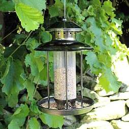 Kingfisher Pewter Effect Lantern Seed Feeder