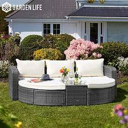 Firenze Five-Section Rattan Daybed - Dark Grey