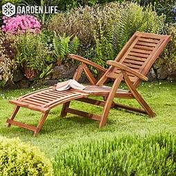 Garden Life Acacia Folding Steamer Deck Chair