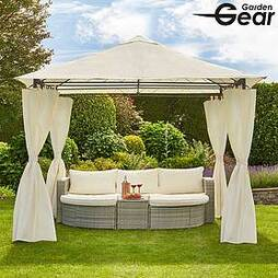 Garden Gear 3x3m Metal Gazebo with Cream Roof and Curtains