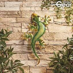 Garden Gear Metal and Glass Gecko Wall Art