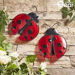 Garden Gear Metal and Glass Set of 2 Ladybirds Wall Art