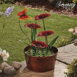 Serenity Metal Indoor and Outdoor Metal Poppy Water Feature