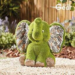 Garden Gear Flocked Effect Elephant Garden Ornament