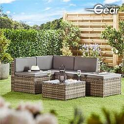 Garden Gear Milan Rattan Lounge Sofa Set - Dark Grey