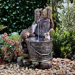 Serenity Playing Otters Water Bucket Water Feature
