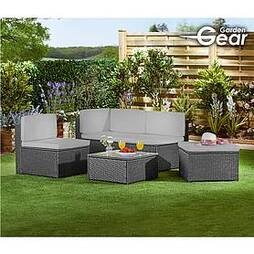 Garden Gear Milan Rattan Lounge Sofa Set - Grey