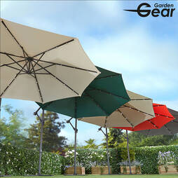 Solar Led Parasol  Cream (With Cover)