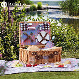 Garden Life FourPerson Picnic Hamper with Built in Cool Bag  Grey