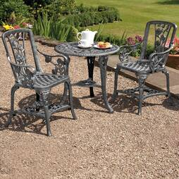 ThreePiece Rose Armchair Bistro Set  Pewter