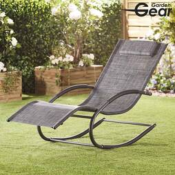Garden Gear Premium Zero Gravity Rocking Lounger  Mixed Grey