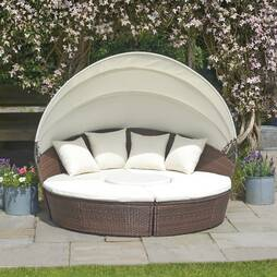Rattan Day Beds with Covers  180cm  Brown